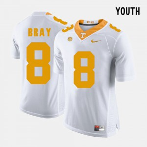 Tennessee Volunteers #8 For Kids Tyler Bray Jersey White College College Football 342080-604
