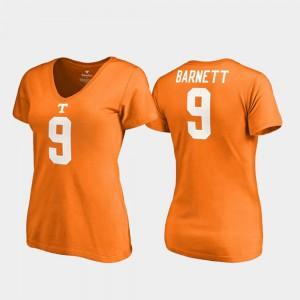 Vols #9 Women Derek Barnett T-Shirt Tennessee Orange V-Neck College Legends Stitched 554129-945