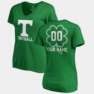 TN VOLS #00 Women Custom T-Shirt Kelly Green University St. Patrick's Day V-Neck Dubliner Fanatics 171192-235