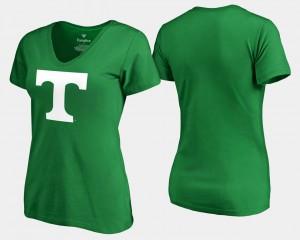 Tennessee Vols Women T-Shirt Kelly Green NCAA St. Patrick's Day White Logo 349888-619