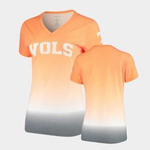 UT For Women T-Shirt Tennessee Orange V-Neck Ombre High School 585285-113
